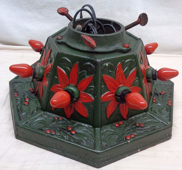 Antique Vintage Lighted Poinsettia Cast Iron Christmas Tree Stand