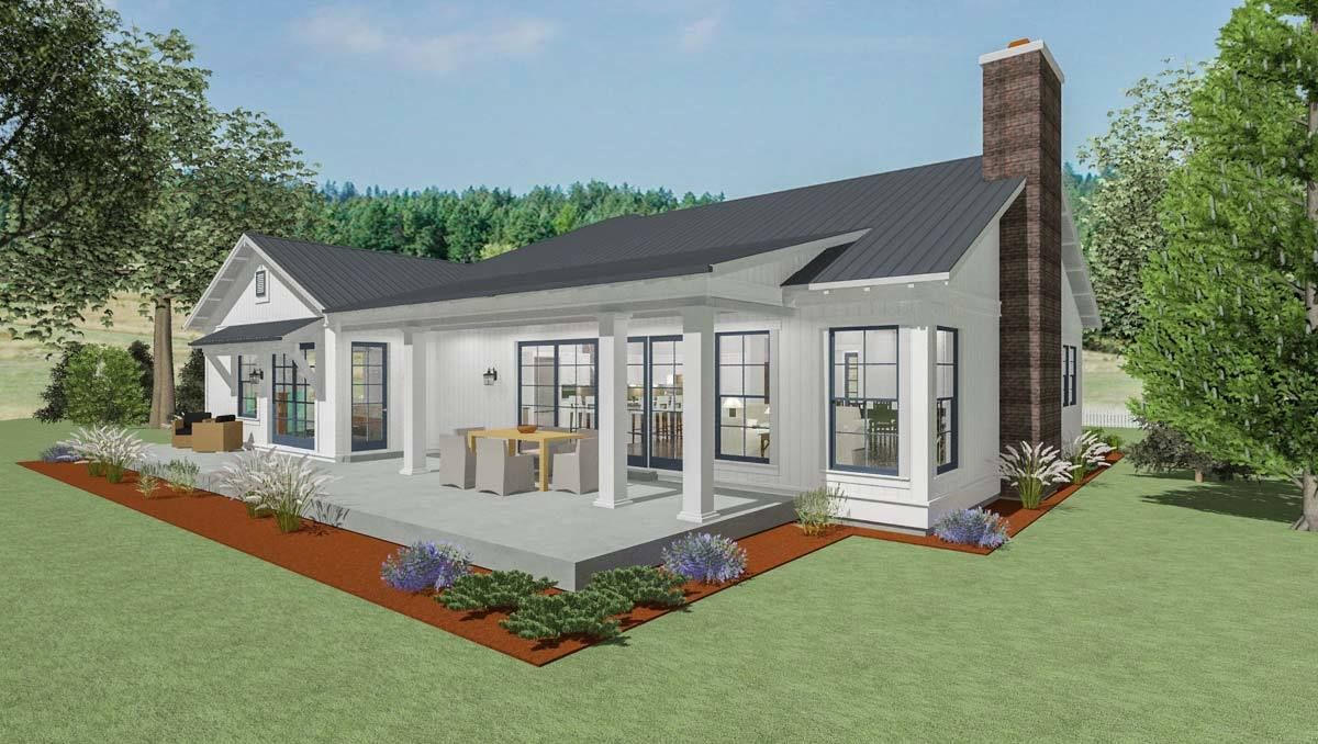 Plan 64449sc Stylish Farmhouse Ranch House Plan Ranch House Plan Ranch House Plans Floor Plans Ranch