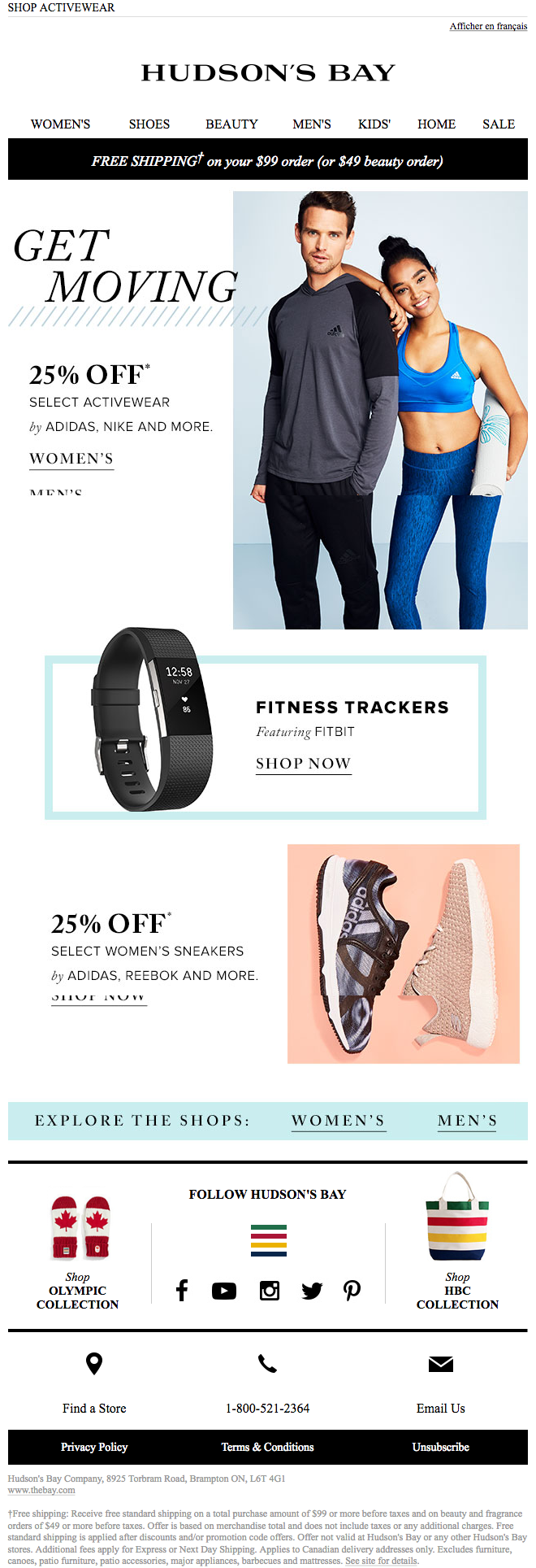 Email Marketing Design From Hudson S Bay Get Moving New Years Resolution Shop Activewear Adidas Sneakers Women