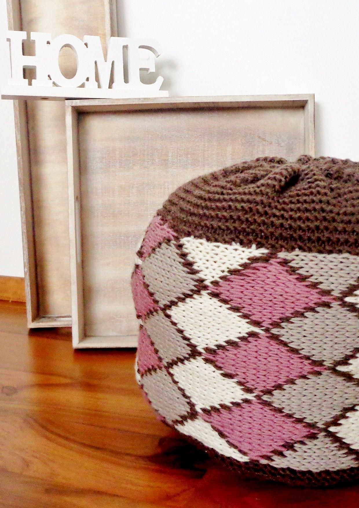 Sitzsack Mit Geometrischem Muster Strickanleitung Via Makeristde