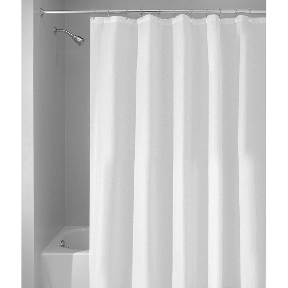 Amazon.com   InterDesign Mildew Free Water Repellent Fabric Shower Curtain,  72 Inch By 96 Inch, White
