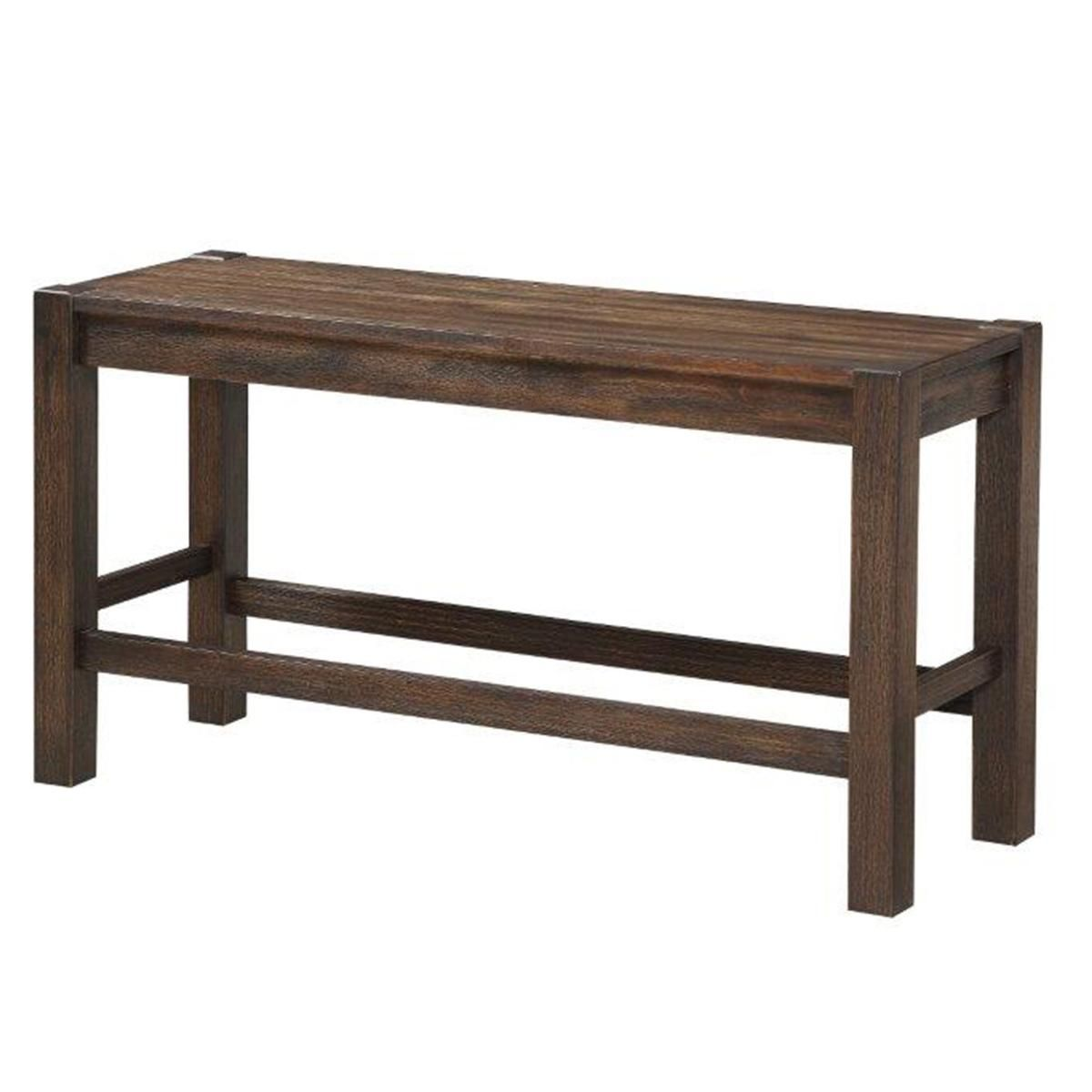 Frankfurt Furniture Rustic Counter Bench In Brown Wire Brush