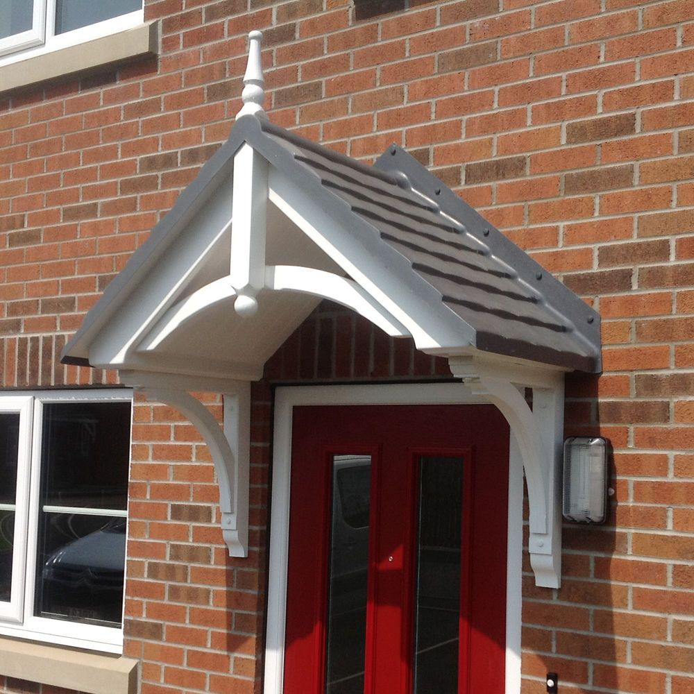Door Canopy GRP with curved brackets and choice of tile effect colours & Door Canopy GRP with curved brackets and choice of tile effect ...