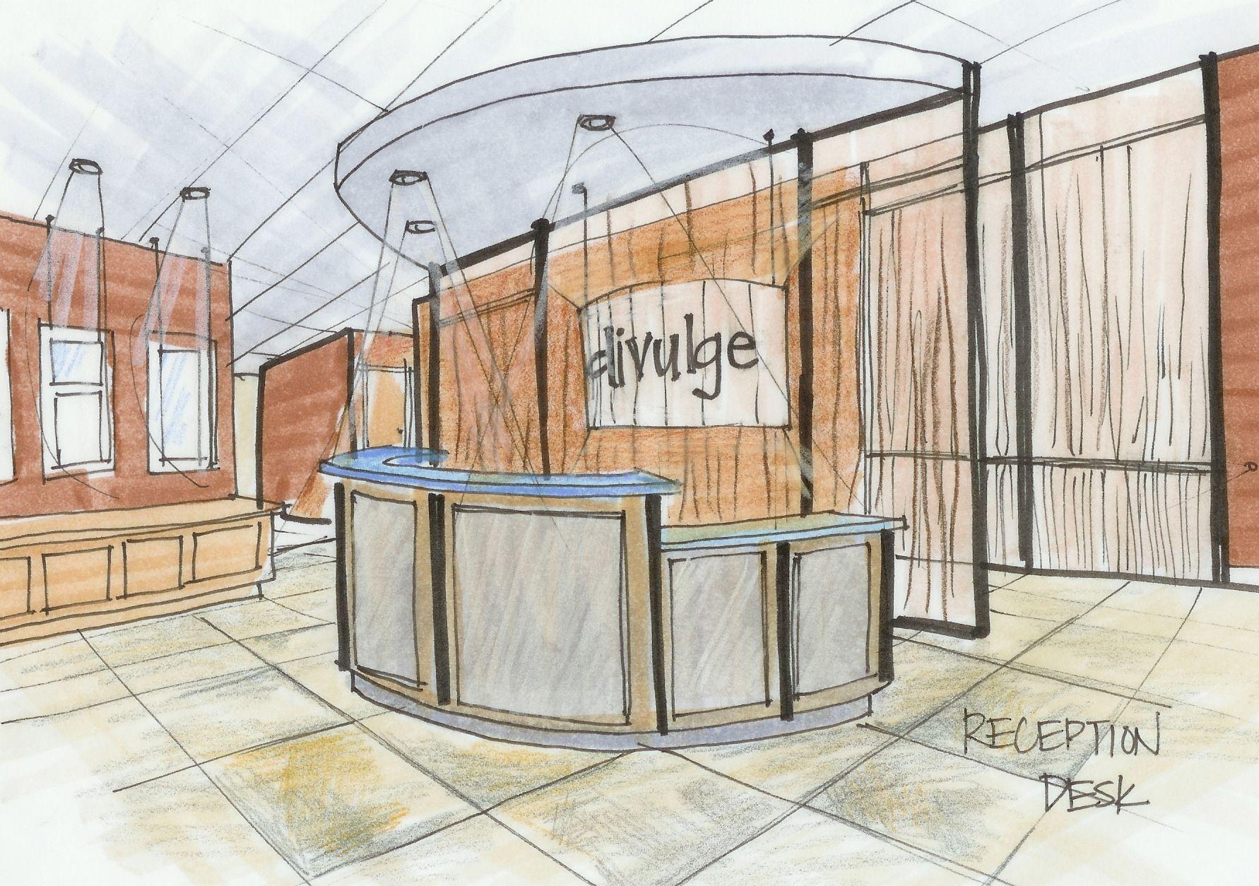 reception desk sketch - Google Search