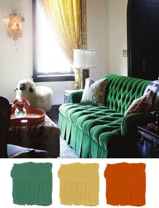 make mine mustard  hunted interior  emerald green sofa