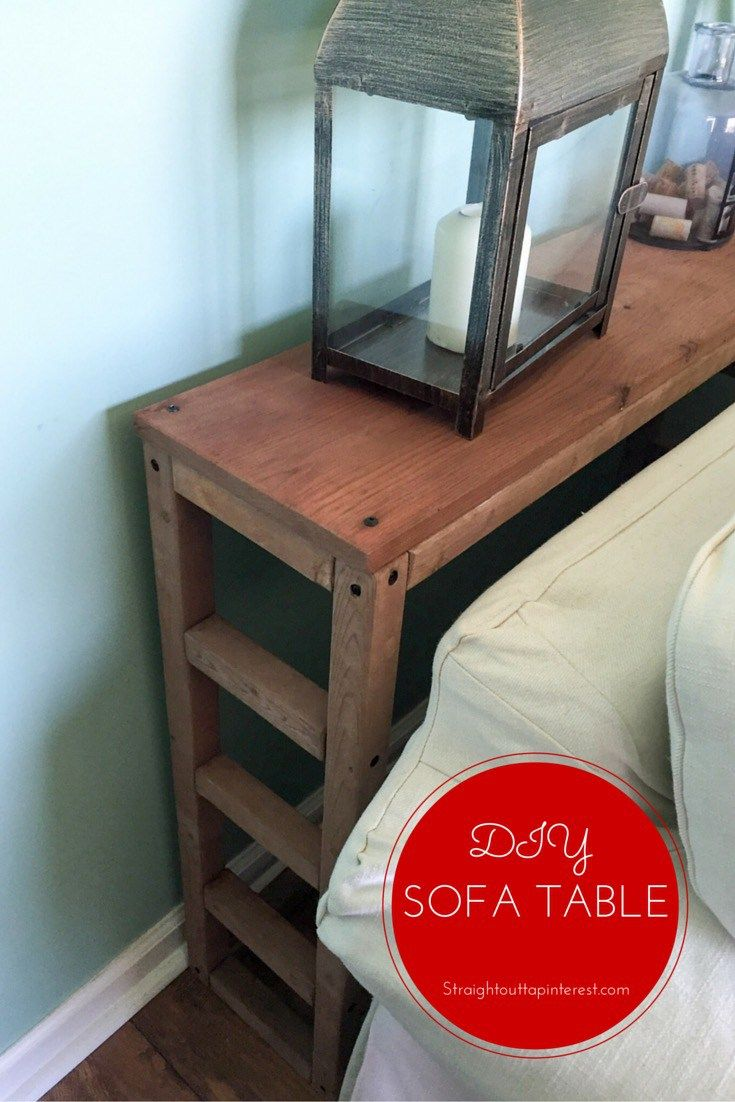 A Simple And Easy To Make Sofa Table Straight Outta Pinterest Diy Sofa Table Diy Entryway Table Home Diy