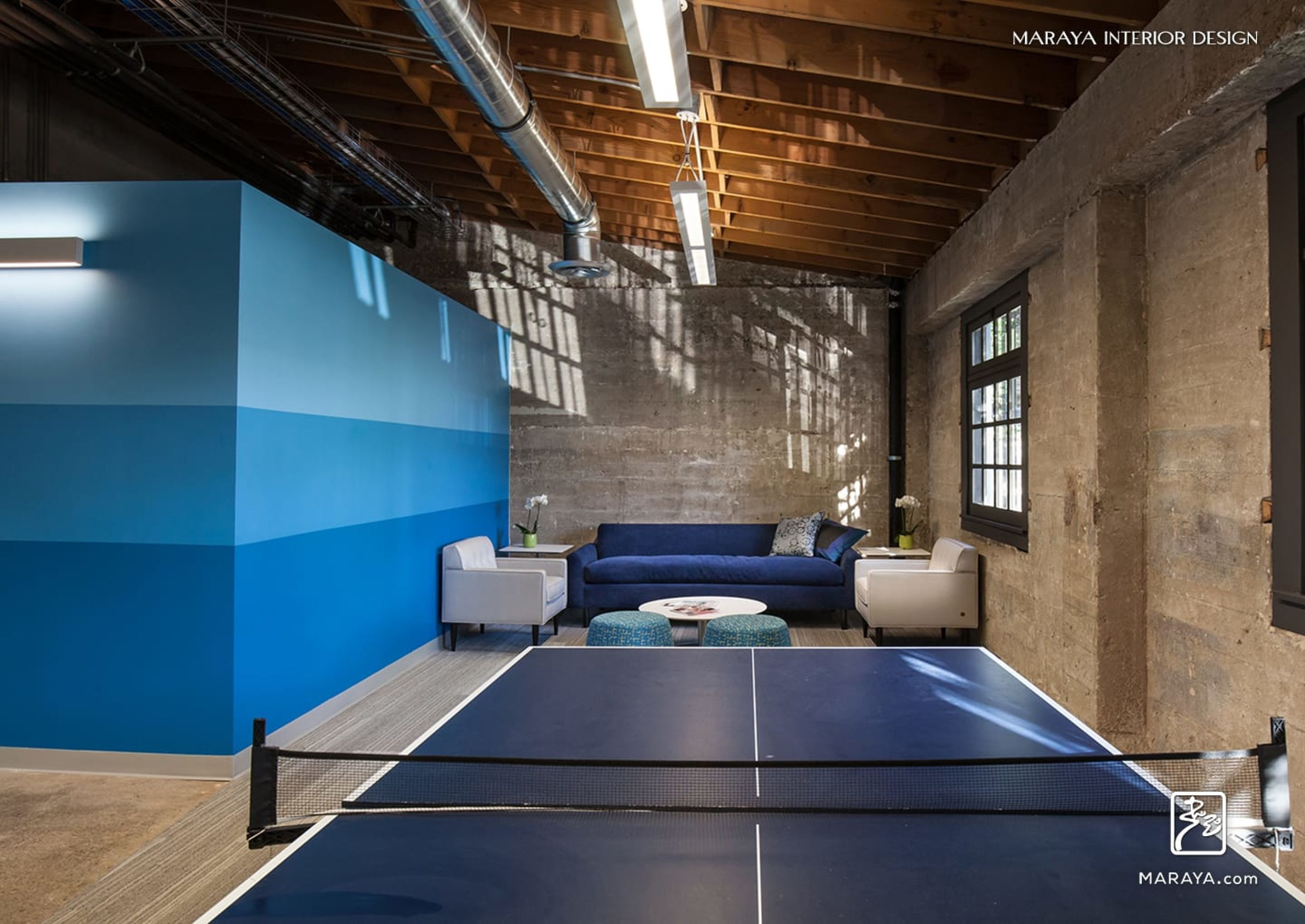 Concrete Modern Office Exposed Wood Truss Ceiling Blue Ping Pong Lounge Area Maraya Interior Design