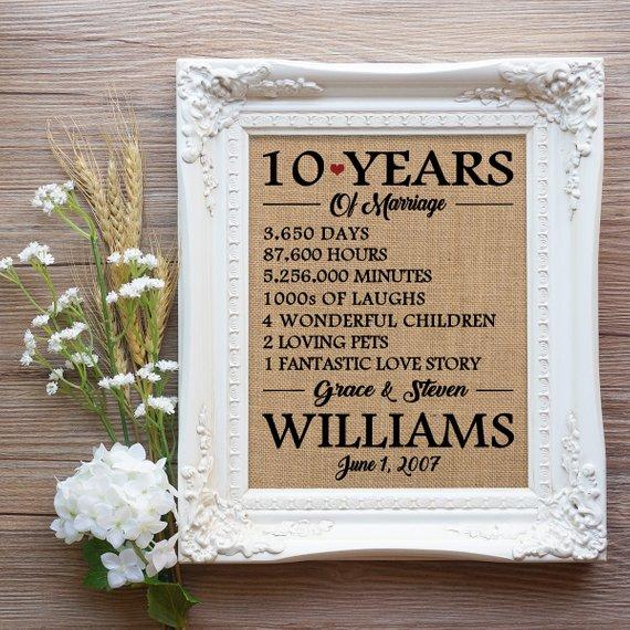 10 Year Anniversary Gift 10 Years Of Marriage Gift 10th Wedding