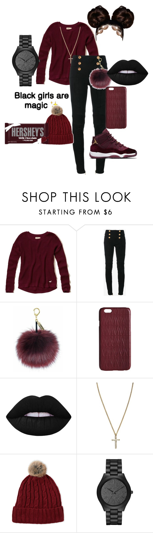 """A real savage woman"" by qiana776 ❤ liked on Polyvore featuring Hollister Co., Balmain, Helen Moore, Dagmar, Lime Crime, River Island, Hershey's and Michael Kors"