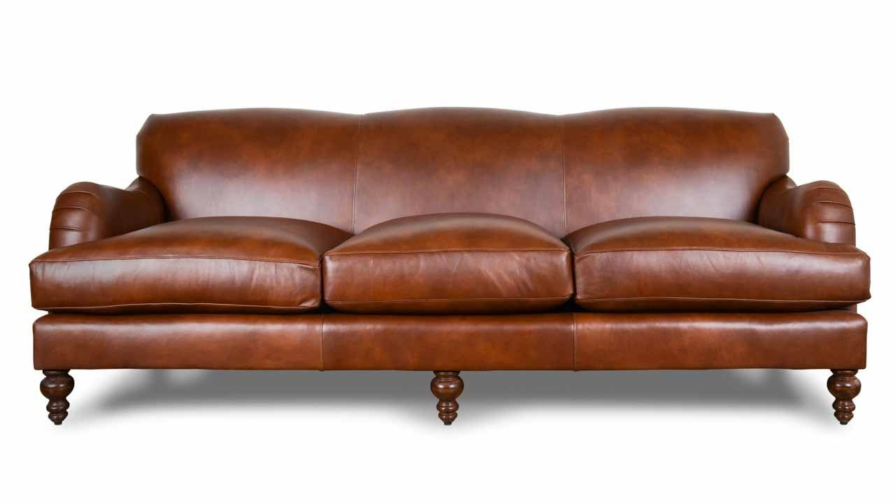 CoCoCo Home English Arm Tight Back Leather Sofa Dante Bourbon