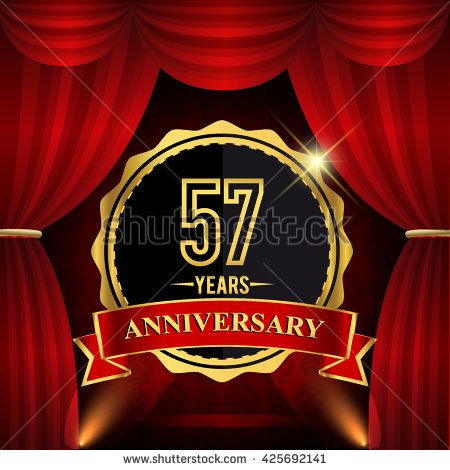 57 years anniversary celebration with red ribbon. Curtain background and light shine. 57th golden anniversary logo. - stock vector