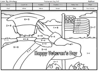 veterans day coloring page by addition fact strategy - Coloring Pages Addition Facts