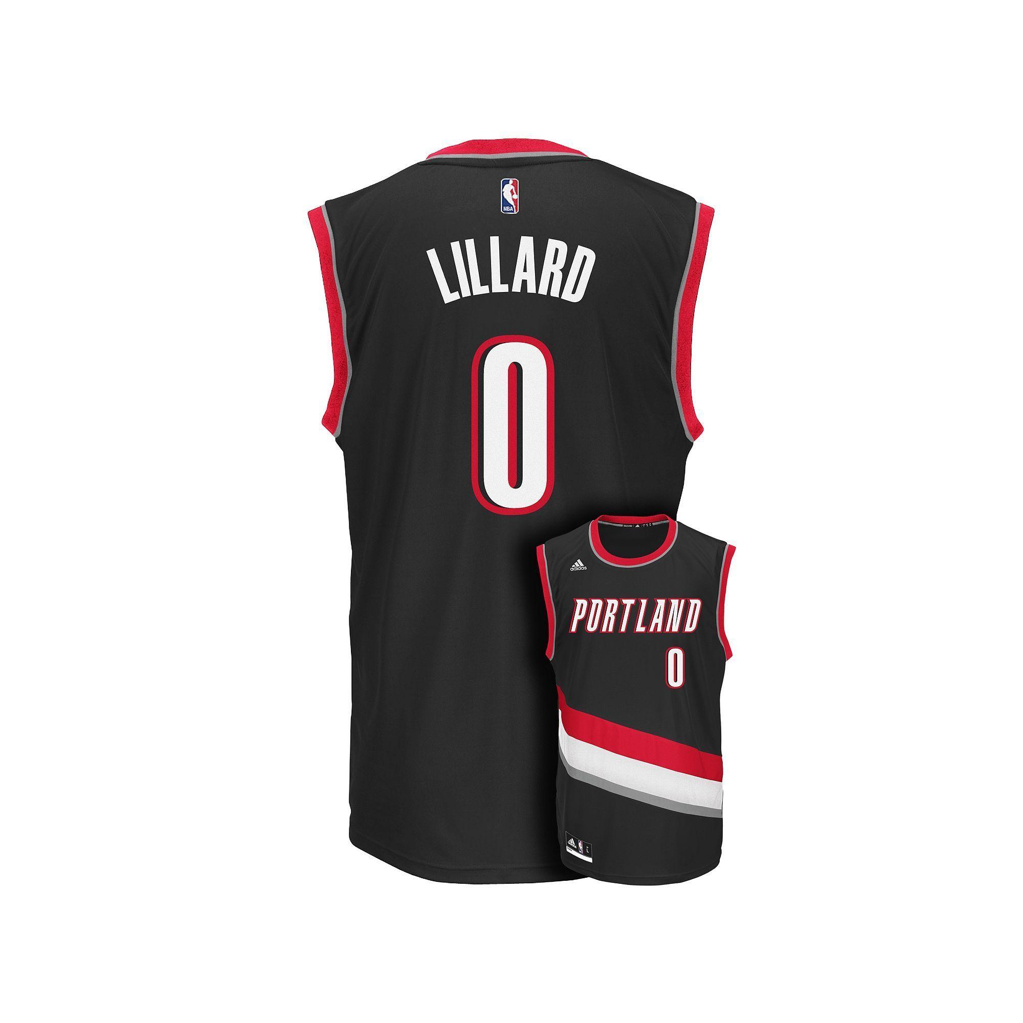 Men's Adidas Portland Trail Blazers Damian Lillard Replica Jersey, Size: Large, Black