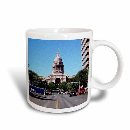 3dRose State Capital of Texas in Austin Texas, End of Street, Textured Photo, Ceramic Mug, 11-ounce
