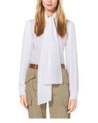 78a06b214585 Michael Kors Michl Kors Collection Pleat Sleeve Silk Georgette Blouse