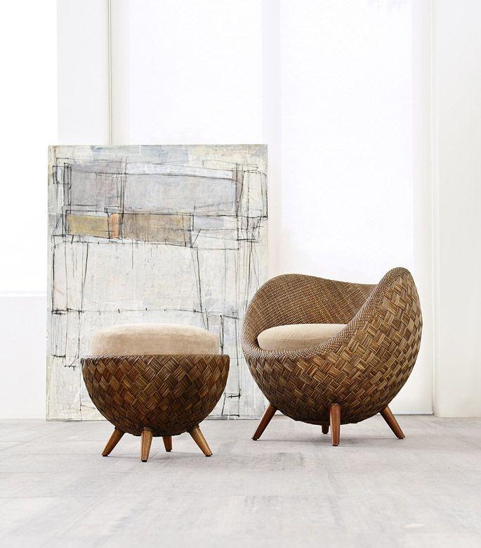 Comfortabele stoel van rattan