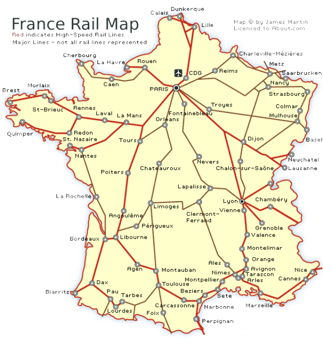 Rail Map Of France.See A France Railways Map And Get French Train Travel Information In
