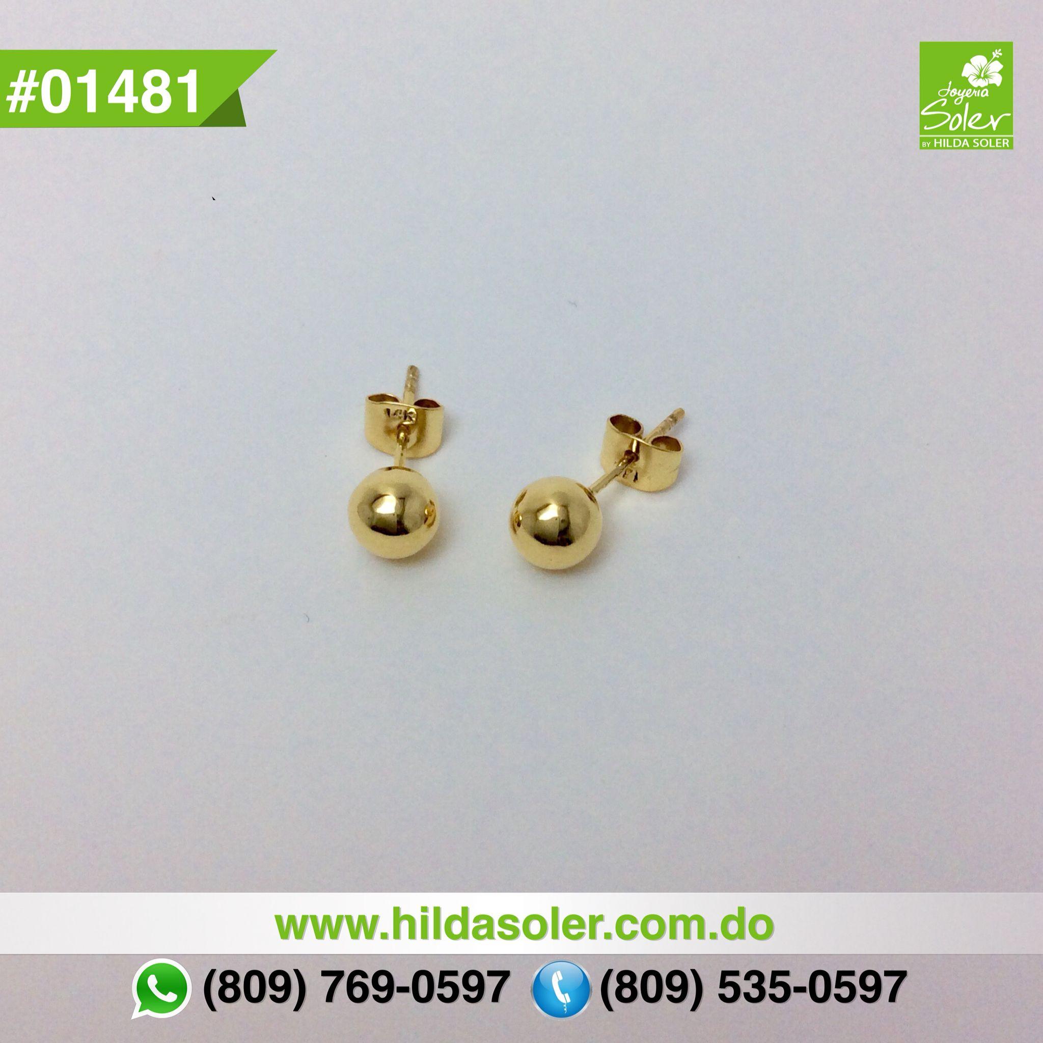 diseño hábil gran ajuste tienda oficial Par de dormilonas en oro 14 KT RD $4,850 pesos | Aretes ...