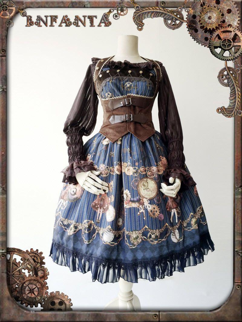 8068f5a53c0 Infanta -Antique Mechanical Doll- Steampunk Lolita Jumper Dress in ...