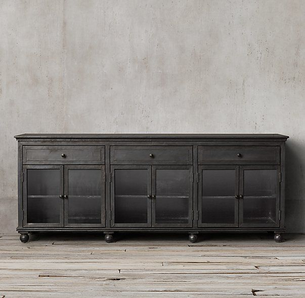 Annecy Metal Wrapped Large Glass Sideboard For Family Room