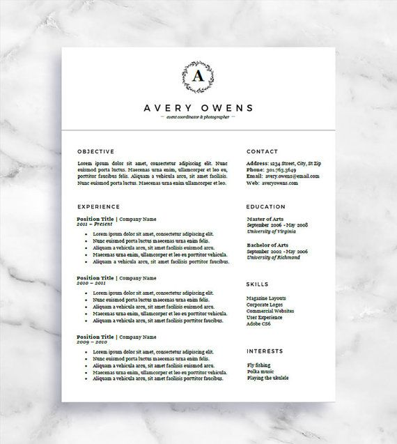 Resume Template And Cover Letter  For Word And Pages  One Page