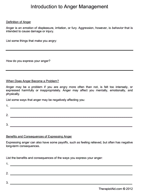 Introduction To Anger Management Worksheet Education Pinterest