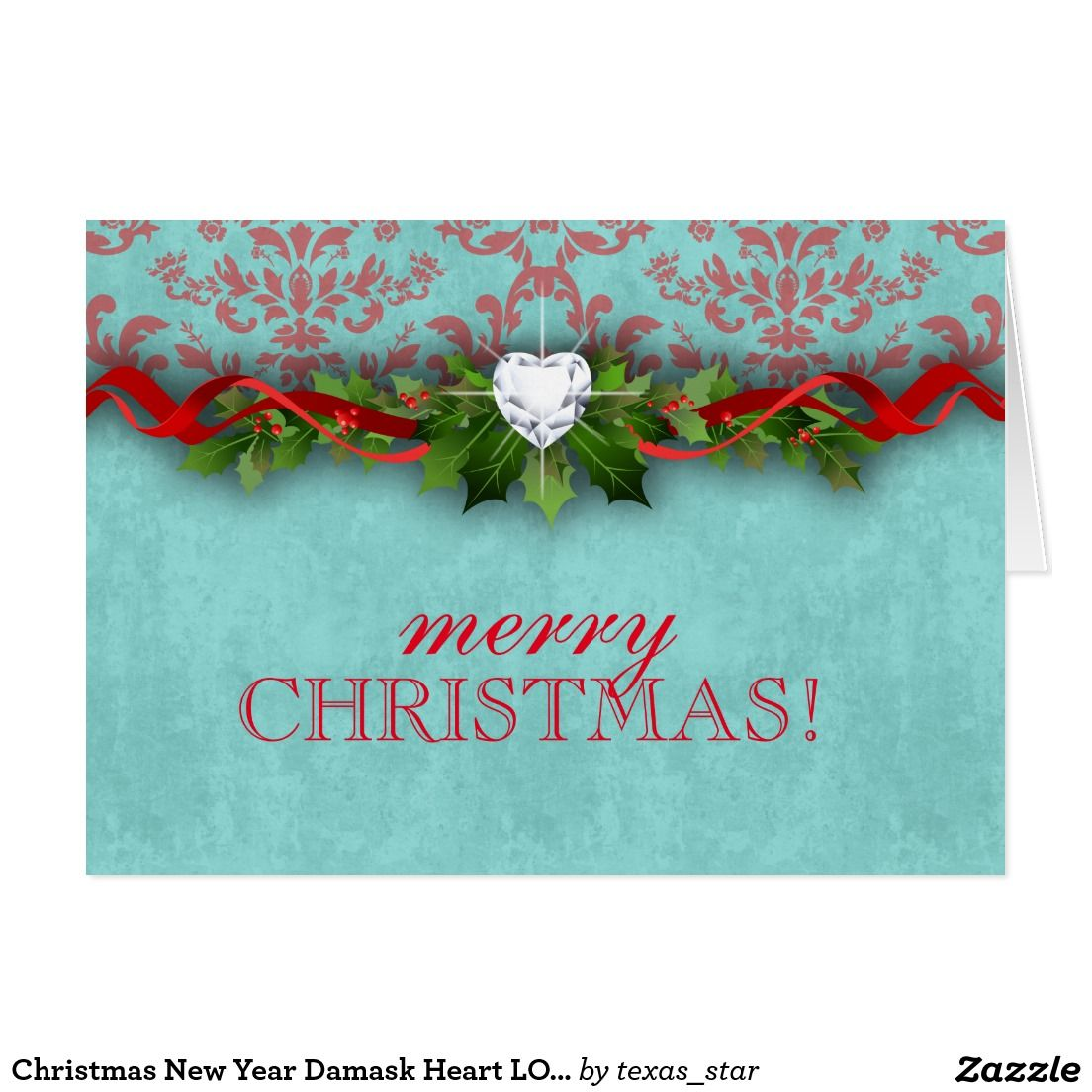 Christmas New Year Damask Heart Love Greeting Card Heart Damasks
