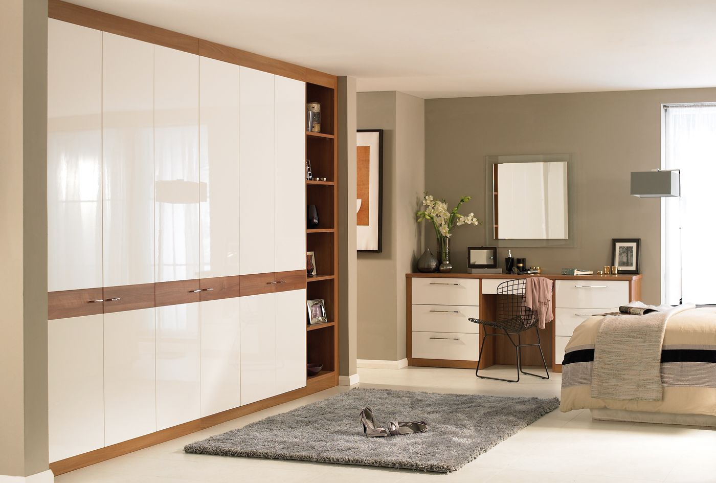 The Horizon bedroom furniture combined with our high gloss white wardrobe doors.