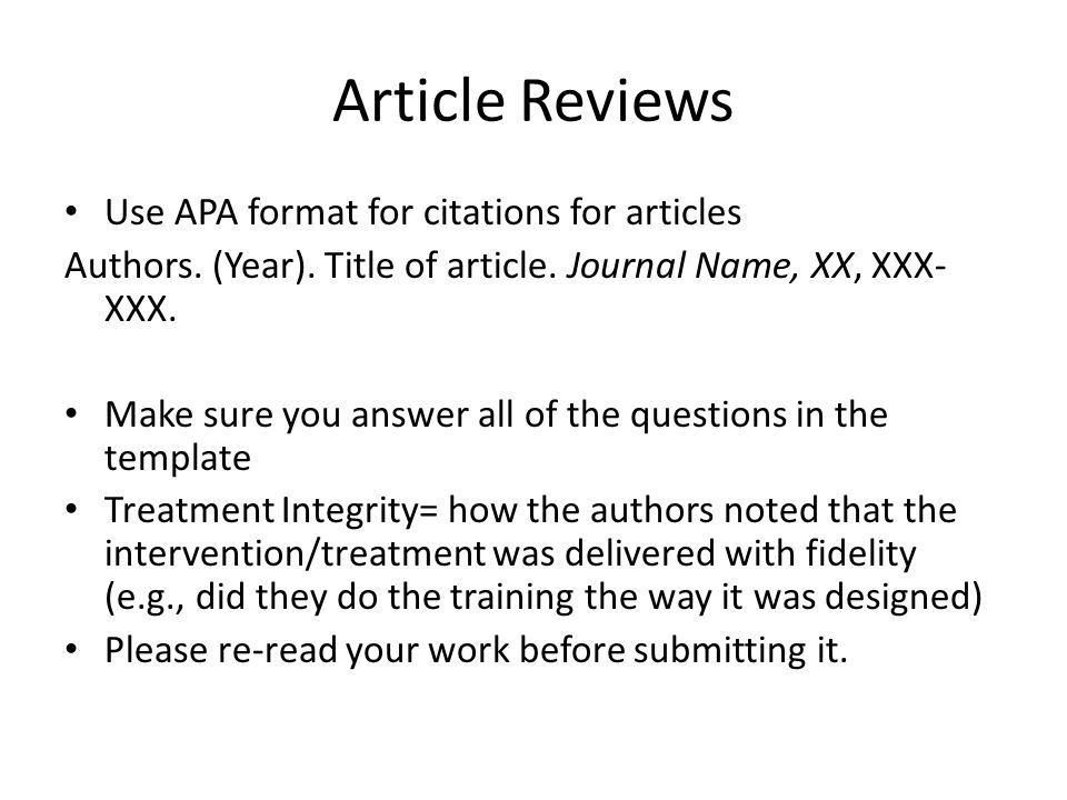 Writing an article review apa