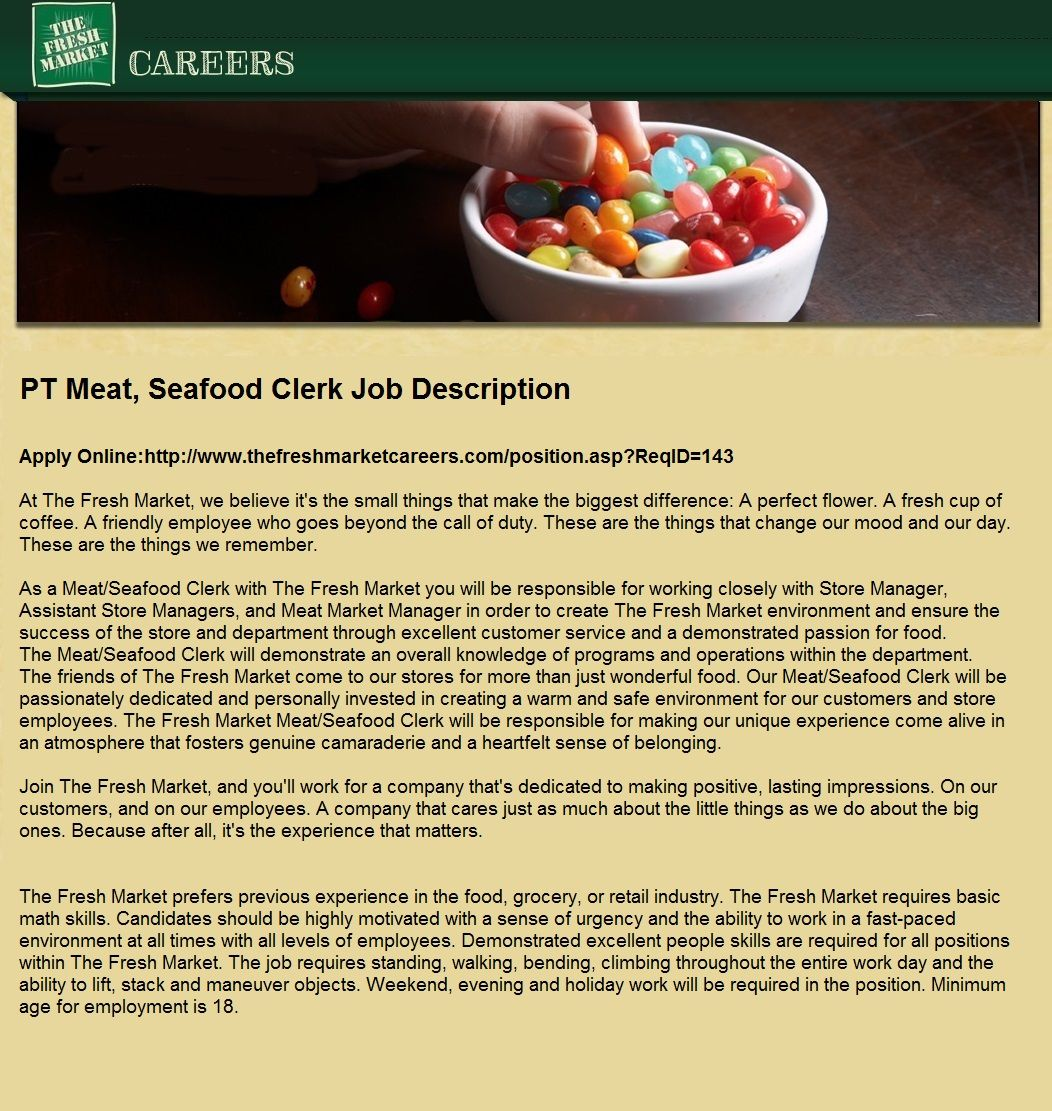 PT Meat, Seafood Clerk Jobs in Destin, FL Grocery market
