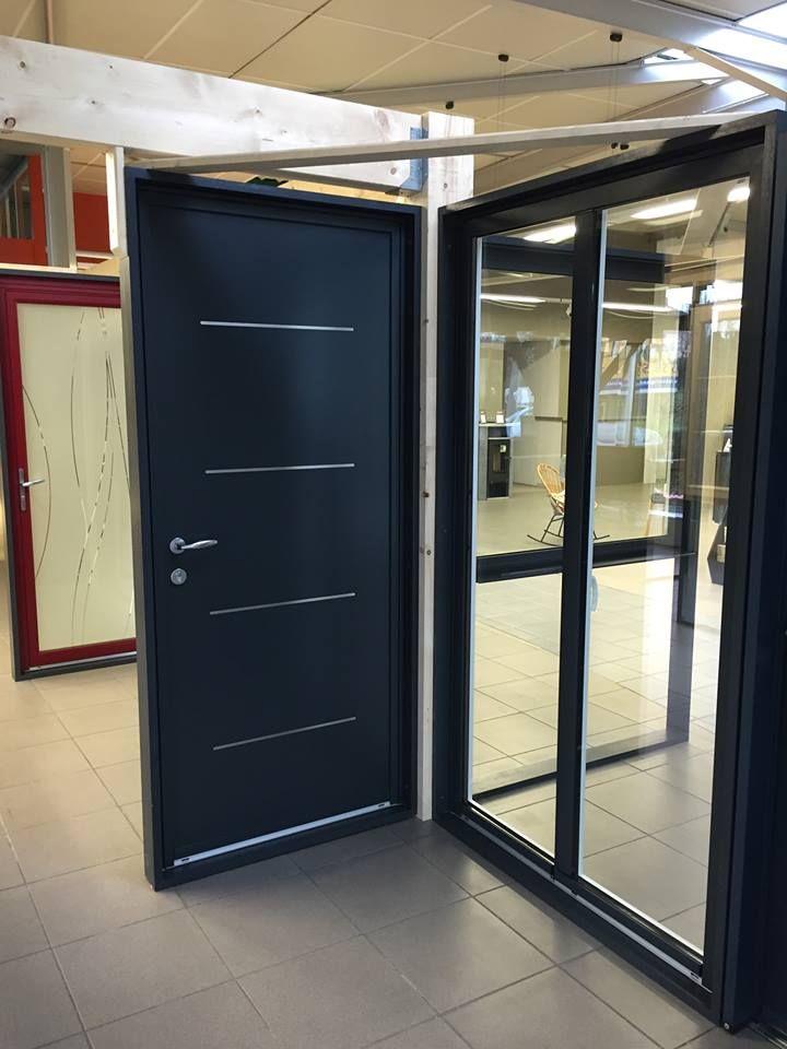 Porte du0027entrée Aluminium avec inserts inox Ral 7016 gris anthracite