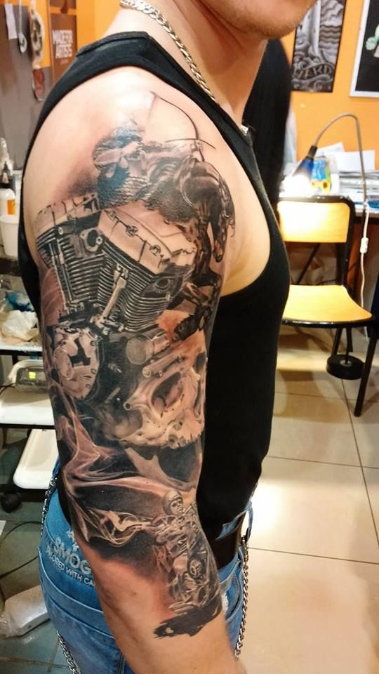 40 Amazing Motorcycle Tattoos Tattoos Harley Tattoos