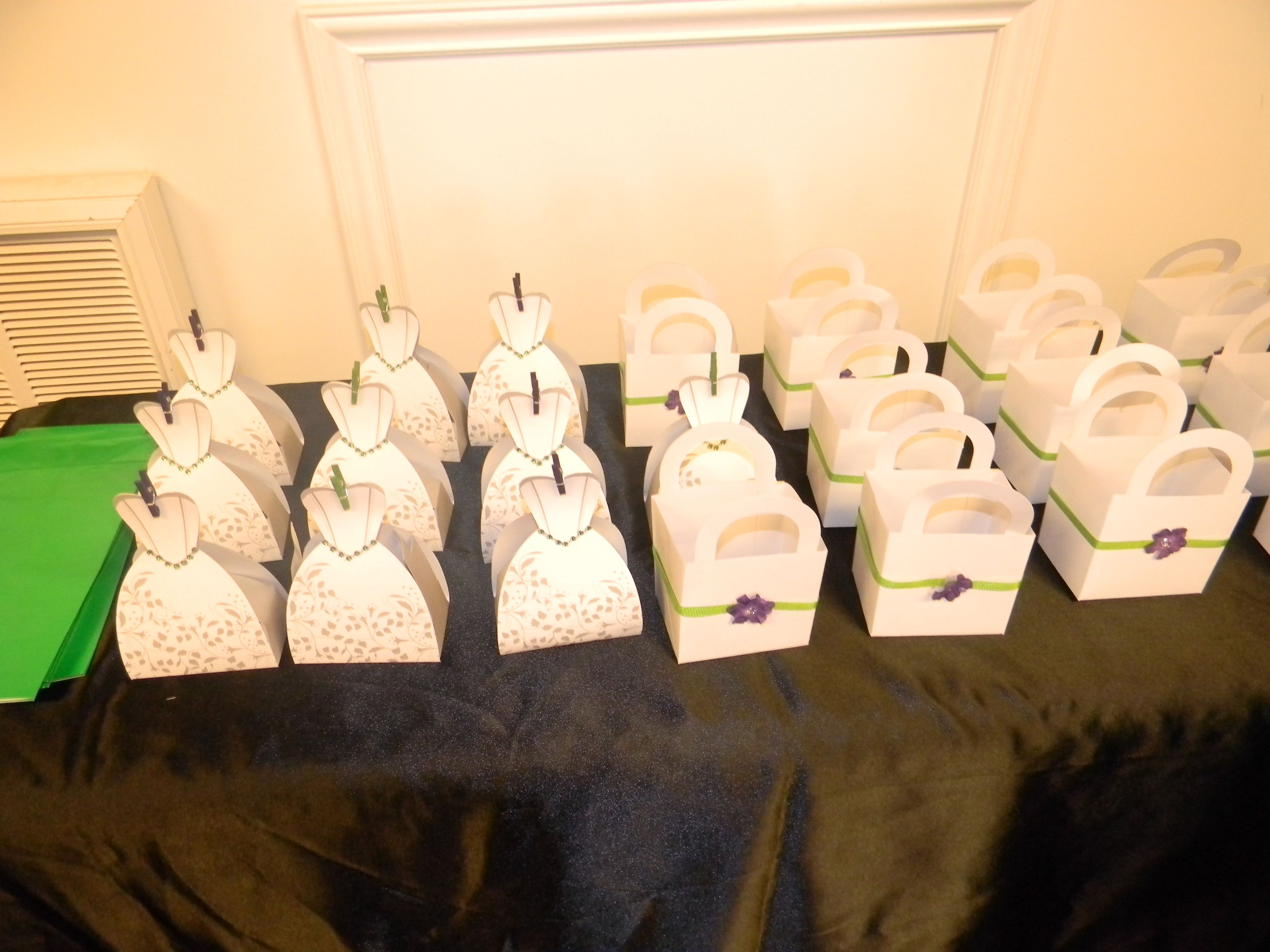 Dollar Tree favor boxes that I blinged up for the wedding shower ...