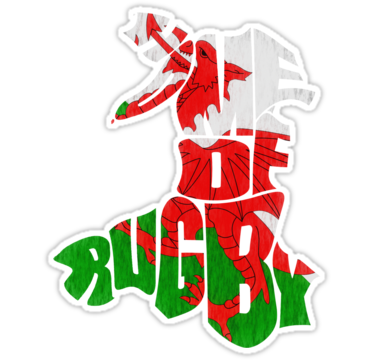 """""""Wales Home of Rugby Calligram Map"""" Stickers by gamefacegear 