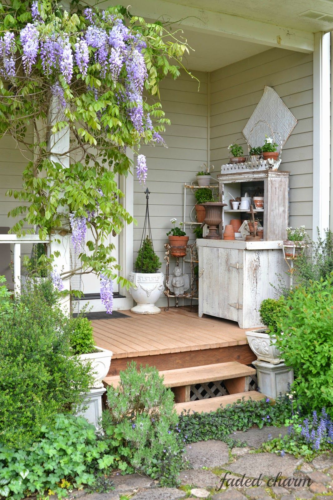 Charming Summer Porch The Wisteria Looks Beautiful
