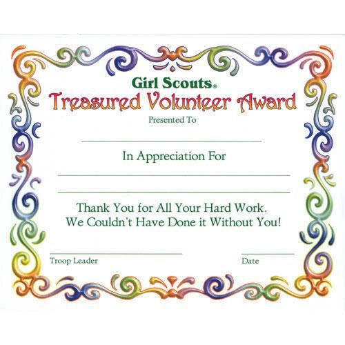 Girl Scout Investiture Certificate Juniors Treasured Volunteer - sample volunteer certificate template