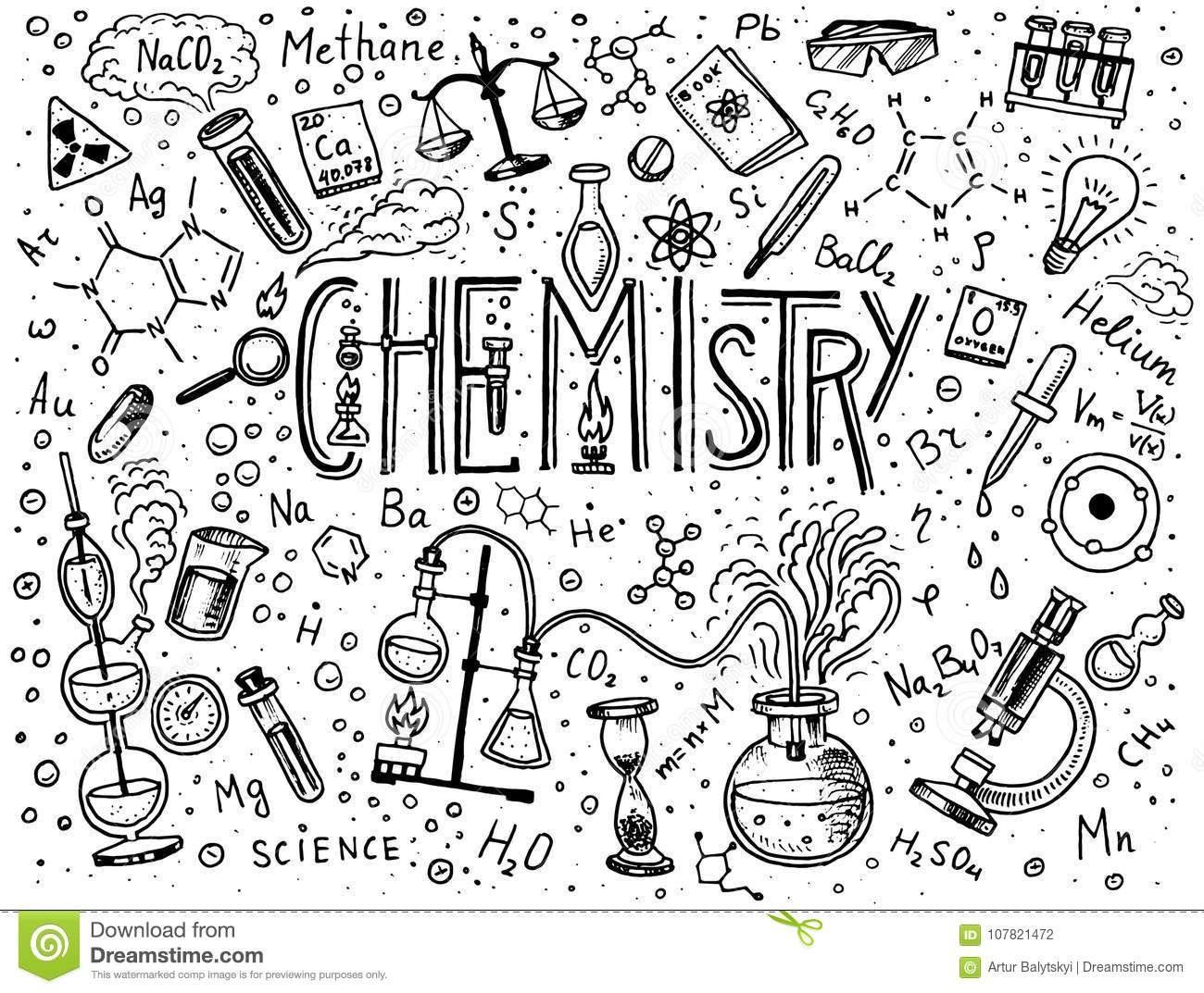 Chemistry Of Icons Set. Chalkboard With Elements, Formulas