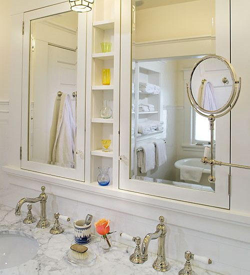 This Is A Little Much But Maybe Could WorkBathroom Mirrored Cabinets Design