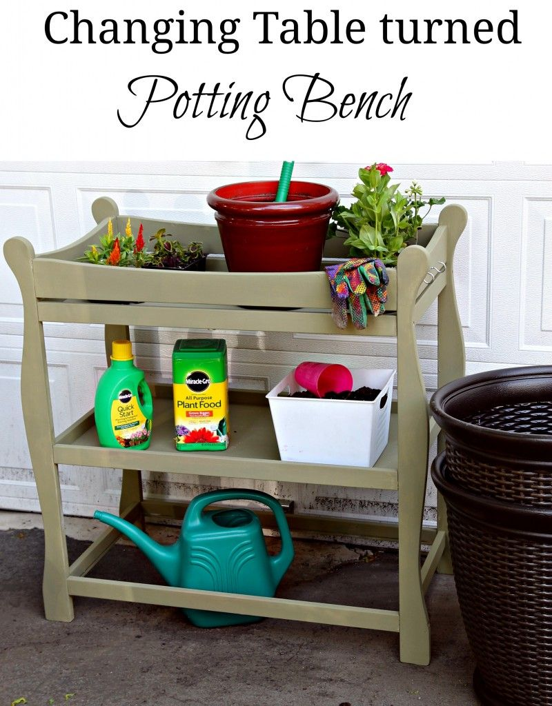 Baby Changing table turned into potting a