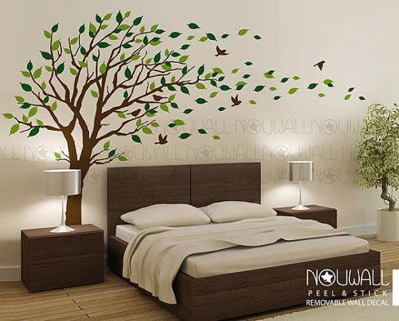 Verwisselbare Winderige Boom Muur Decal Woonkamer Slaapkamer Etsy Tree Wall Decal Living Room Wall Stickers Home Decor Bedroom Wall