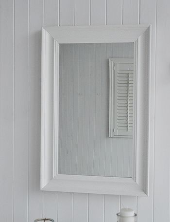 Large whaite wall mirror with chunky wooden frame Picture frame