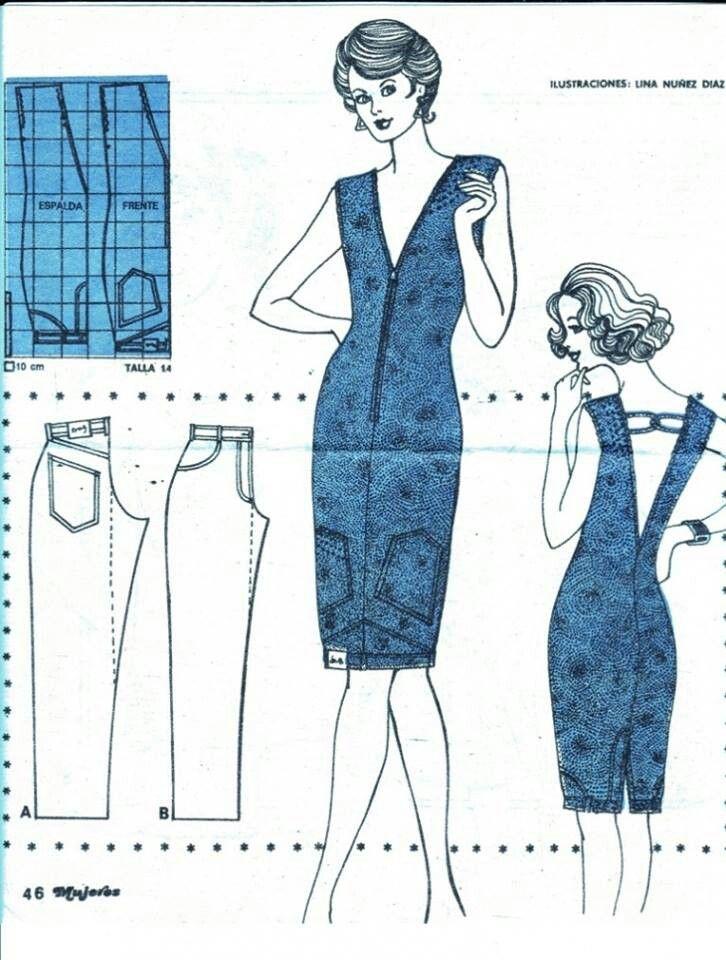 De pantalòn a vestido,muy buena idea de reciclaje   sencillo y tu ...