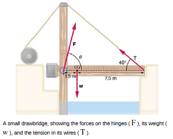 Stability: [IMAGE] Suppose the weight of the drawbridge as shown in the figure above is supported... - Learningpod