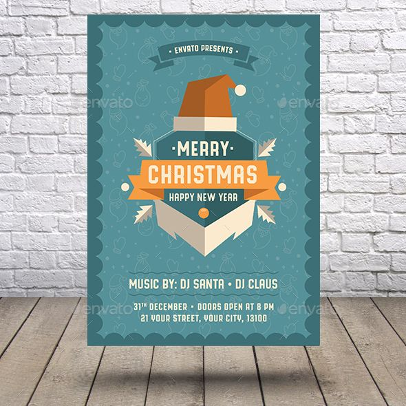 Merry Christmas Happy New Year Flyer Flyer Template Ai