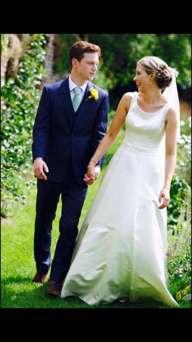 Blue three piece wedding suit by alexandra wood