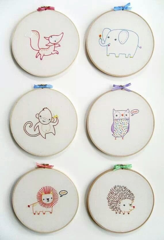 Adorable Animals Embroidery Pinterest Embroidery Sewing And