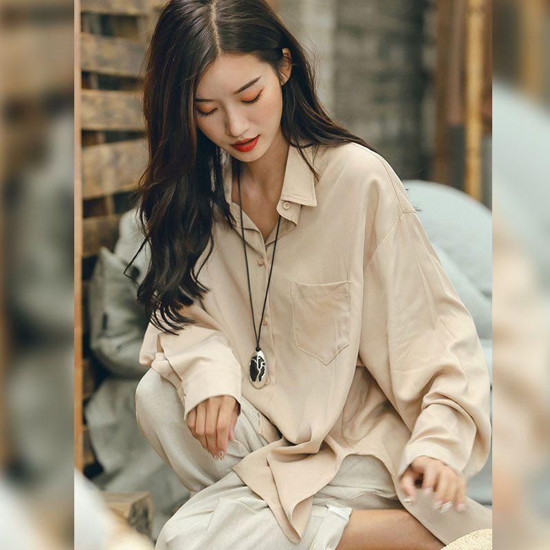 b5eb3407f48f0a Korean Style Silky Boyfriend Shirt Asymmetrical Apricot Blouse in ...