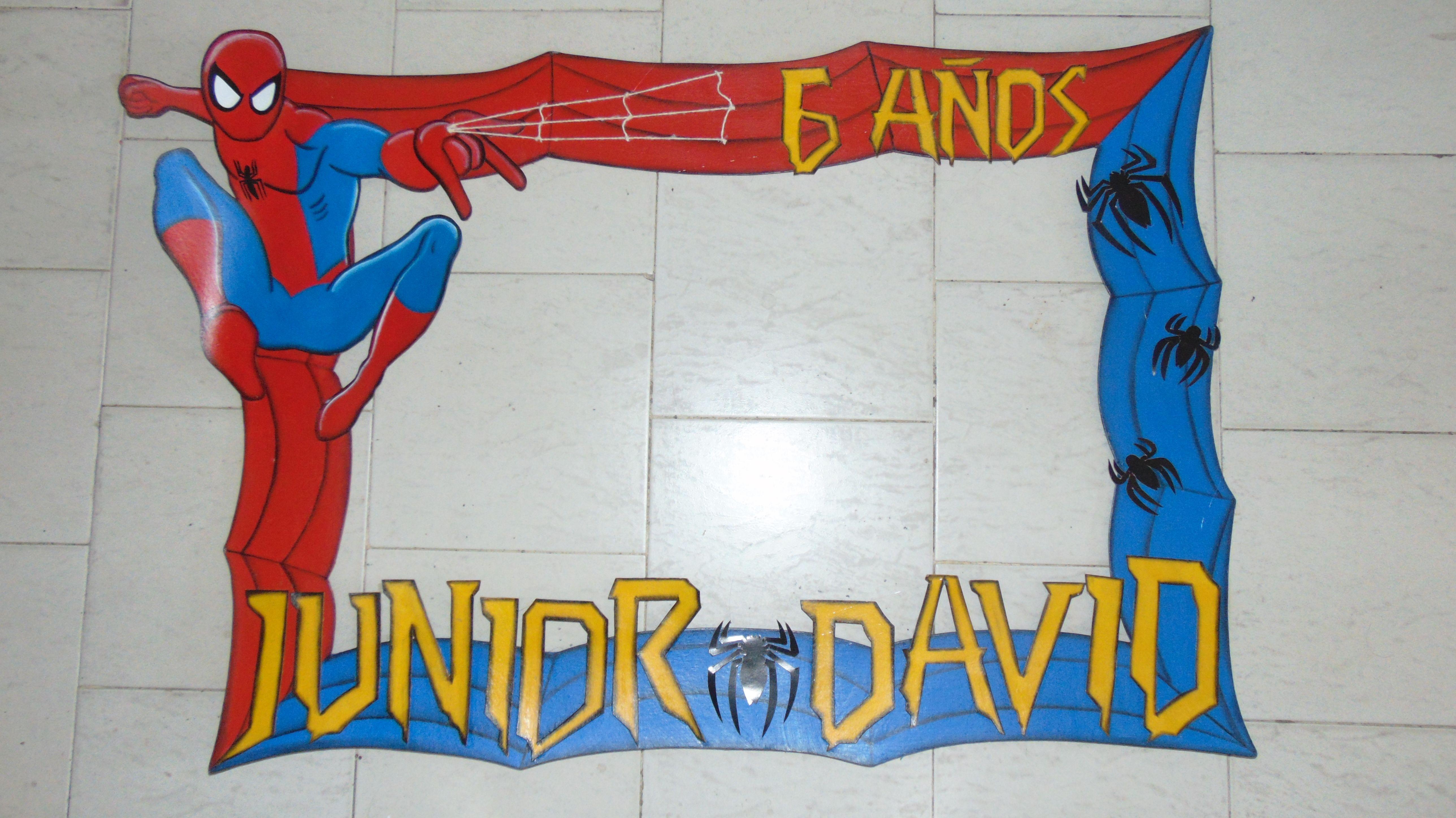 Marco con temática del Hombre Araña (Spiderman) para cumpleaños ...