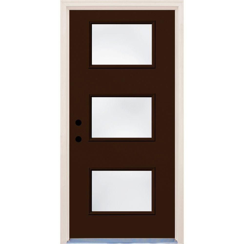 Builders Choice 36 In X 80 In Right Hand Earthen 3 Lite Clear Glass Painted Fiberglass Prehung Front Door With Brickmould Hdx162750 Exterior Doors Exterior Front Doors Clear Glass