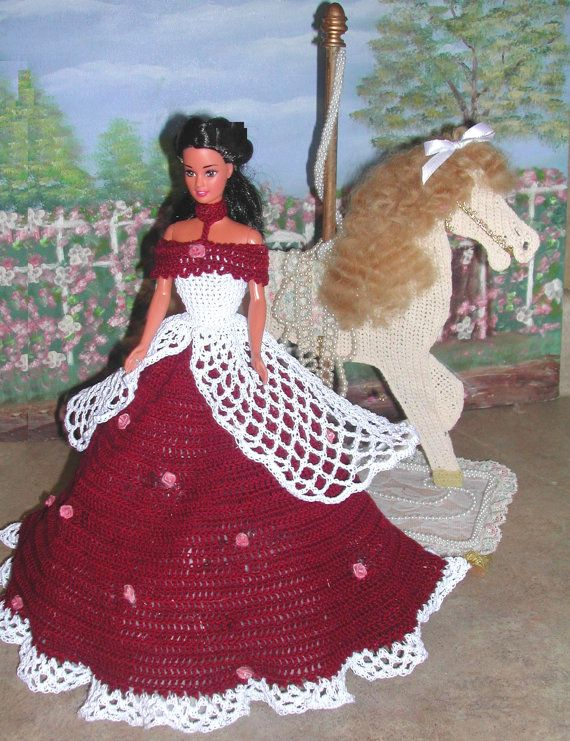 1) häkeln Mode - 425 ROSE BUD Prinzessin 2 für 11 1/2 Fashion Dolls ...